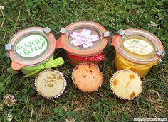 Mini Muffins zum teilen und drei verschiedene Cremes zum kombinieren - als Topping für die Muffins.