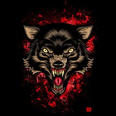 Bloody Wolf Rissing is an Art Print designed by angoes to illustrate your life and is available at Design By Humans Tribal Wolf Tattoo, Wolf Tattoos, Neck Tattoos, Savage Tattoo, Wolf Painting, Looney Tunes Cartoons, Dark Art Drawings, Wolf Pictures, Halloween Design