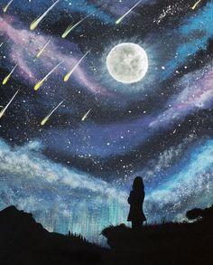 Moon and shooting stars