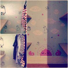 The Closet Guru approves✨☁ ☁⚡ #project #closetguru #closet #clouds #clothes #shelves #mural #art #mumbot #pink #blue #white #black #pimpmycloset #diy #oldebrooklynlantern #lantern #light
