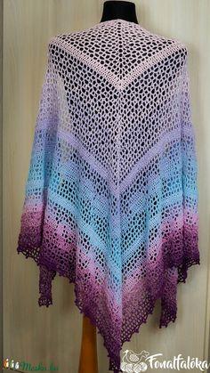 Kék-lila horgolt csipke kendő  (Fonalfaloka) - Meska.hu Blanket, Crochet, Crochet Hooks, Blankets, Crocheting, Carpet, Thread Crochet, Hooks, Quilting