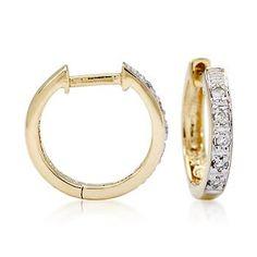 Ross-Simons - Diamond Huggie Hoop Earrings in 14kt Yellow Gold - #018781