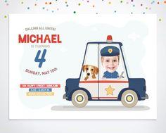 Police Car Invitation Printable and Customized by happyminiyou