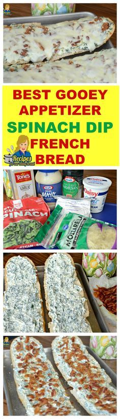 BEST GOOEY APPETIZER EASY SPINACH DIP FRENCH BREAD What do you need to whip up this super easy spinach dip french bread? This creamy easy spinach dip is a combination of cream cheese, Mayonaise, sour cream, Mozzarella cheese, Worcestershire sauce, granulated garlic, salt, pepper, Parmesan cheese, spinach, bacon and French Loaf. SEE FULL RECIPE HERE: http://recipesforourdailybread.com/easy-spinach-dip-french-bread/