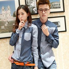 [F-280] Free shipping The new Korean version of the trend of couples of mixed colors dot denim long-sleeved shirt(China (Mainland))
