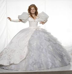 "Amy Adams' Princess Giselle wedding gown from ""Enchanted.""  Mona May worked with the Disney animators to get the proportions of the dress comparable to proportions seen on the animated Giselle.  Seeing our Disneyland Giselle backstage coming out of the pre-parade carriage, I can tell you the dress is a whopper."