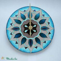 mandala clock    Drapp-türkizkék mandala - egyedi festett üvegóra (Boriboszi) - Meska.hu