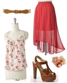 LC Lauren Conrad for Kohl's Spring 2012 Outfit Floral blouse, high-low maxi skirt, platform sandals, belt, floral cluster ring Summer Outfits, Casual Outfits, Fashion Outfits, Womens Fashion, Lauren Conrad Collection, Pretty Outfits, Cute Outfits, Become A Fashion Designer, College Fashion