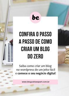 Você quer iniciar o seu negócio digital mas não sabe como criar um blog? Confira esse passo a passo e crie o seu blog de maneira fácil no wordpress.org Seja uma empreendedora digital, blogueira de negócios e comece a ganhar dinheiro na internet! #dicasparablogueiras #blogueiraempreendedora #marketingdigital