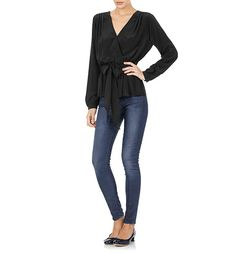Eliza Black Silk Wrap Blouse