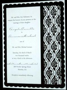 Black and White Scalloped 5x7 wedding invitation | panachedesign - Wedding on ArtFire