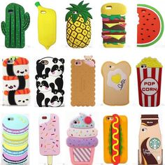 Hot 3D Cartoon Kawaii Cute Food Soft Silicone Case Cover Back For Various Phones