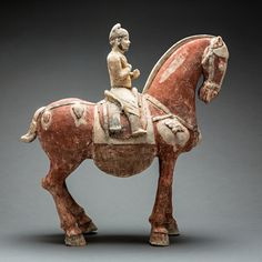 Tang Sculpture of a Horse and Foreign Rider - H.688 Origin: China Circa: 600 AD to 700 AD