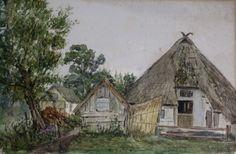 "Ludwig, Hugo (1861 – nach 1920 ) ""Rauchhaus in Horst an der Ostsee"" Aquarell, u.r.monogrammiert/dat.: (19)20, Maße: 18x27,5 cm,"