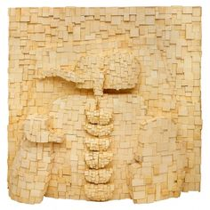 "FAUSTINO AIZKORBE ""PERSONAJE""  Mural de madera de coto que representa a personaje. Año 2000. Medidas: 150 x 150 x 40 cms."