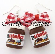 Oorbellen potten Nutella in chocolade pasta polimerica