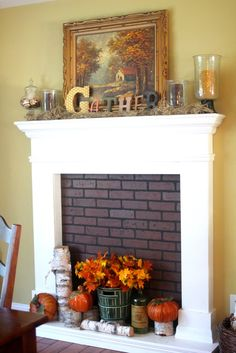 faux fireplace with unpainted wood