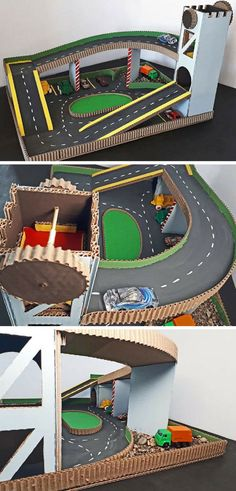 This DIY cardboard parking garage will make a great gift for a car-mad toddler or preschooler. Watch the video to see how simple it is to put together! Cardboard Kitchen, Cardboard Car, Cardboard Box Crafts, Kids Garage, Toy Garage, Diy Play Kitchen, Homemade Toys, Diy Toys, Diy Crafts For Kids