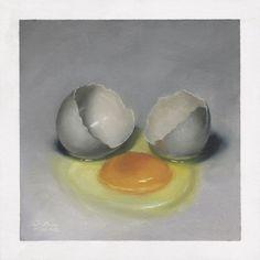 Cracked Egg, Hyperrealism, Still Life Art, Eggs, Floral, Painting, Flowers, Painting Art, Egg