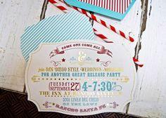 Carnival Invite Theme.   Gold Foil, Diecut, vintage.