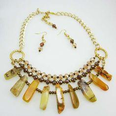 Collares Mujer Piedras Semipreciosas Agata Amarilla Finas Joyas de Moda  www.hogla.com.co
