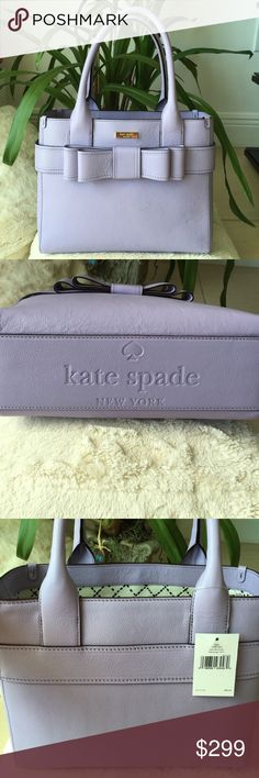 Brand new Lavender authentic Kate Spade bag Beautiful lavender Kate Spade satchel with bow. This bag is stunning in person. Interior has a center separator zip pocket, a side zip pocket and 2 slide pockets. Bag measures 12 X  5 X 9 with 7 & 1/2 in handle drop. New, tags still attached paid $300+, it just doesn't work with my clothing colors. Sorry, this bag did not come with a dust bag. kate spade Bags Satchels