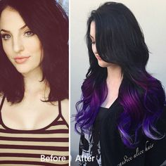 Purple ombre hair color for black hair girls,with extensions to add length and color Dark Red Hair, Hair Color For Black Hair, Ombre Hair Color, Purple Hair, Purple Ombre, Hair Colors, Colored Hair Extensions, Hair Extensions For Short Hair, Hair Extensions Before And After