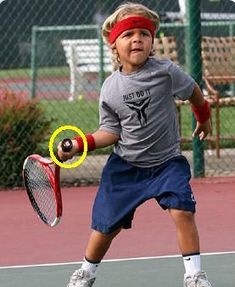 A stop-action photo of a talented youngster who has his racket handle butt in perfect alignment at the rear-most part of his racket takeback swing. Tennis Lessons, Tennis Tips, Sport Tennis, Gym Workout Videos, Gym Workouts, Tennis Techniques, Tennis Trainer, Sports Games For Kids, Wimbledon