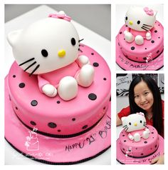 Hello Kitty Cakes | Hello-Kitty-3D-cake-make-by-Swens-Homemade-Cake-Penang1 ... Hello Kitty Cake, Hello Kitty Birthday, Disney Cake Toppers, Cat Party, Cookie Designs, Creative Cakes, Cakes And More, Cupcake Cakes, Cup Cakes