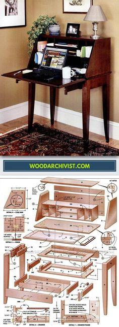 Secretary Desk Plans - Furniture Plans and Projects   WoodArchivist.com
