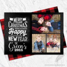 Buffalo Plaid Photo Collage Christmas Cards
