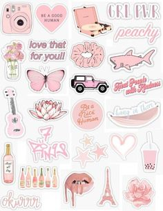 Pink Stickers 2 - Laptop - Ideas of Laptop - pink sticker pack pink stickers light pink peachy pink peach baby pink pastel pink light retro vintage sticker pack overlays edits hydroflask stickers laptop stickers phone case stickers trendy cute ae Stickers Cool, Tumblr Stickers, Phone Stickers, Wallpaper Stickers, Kawaii Stickers, Laptop With Stickers, Preppy Stickers, Decorative Stickers, Macbook Stickers