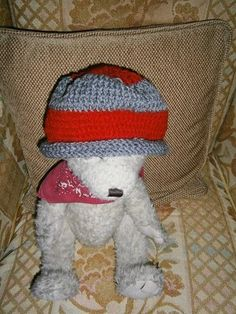 """#zibbet This cute little knitted rolled brim hat is made for a little boy of 5/6.  Circumference is 14 1/2""""Made with 100% acrylic yarn.Can be machine washed and dried on low setting.If you would like it in a larger size please let me know.  Can be made to fit children 9/10 Adults Medium and Adult Large. Can be made in any color.If you have any further questions please don't hesitate to contact me."""