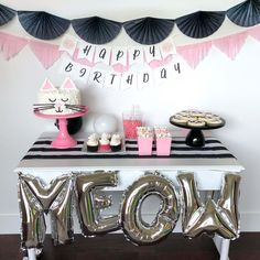 Complete cat party theme box in black, white and pink colors. This includes tableware, decorations and custom invitation, thank you and birthday banner.