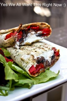 MADE THIS TONIGHT AND IT ROCKED!!   Grilled Portobello Mushroom, Roasted Red Pepper & Goat Cheese Wrap.
