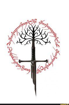Lord of the rings sword of the king the white tree of gondor and ring of power Herr der Ringe Schwert des Königs der weiße Baum von Gondor und Ring der Macht Tolkien Tattoo, Tatouage Tolkien, Lotr Tattoo, Diy Tattoo, Jrr Tolkien, Viking Sword Tattoo, Tree Of Gondor Tattoo, Ring Tattoos, Body Art Tattoos