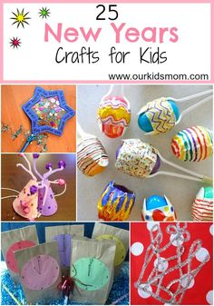 25 new years crafts for kids new years eve новый год, рождес New Years With Kids, Kids New Years Eve, Holidays With Kids, New Years Party, New Year's Eve Crafts, Holiday Crafts, Holiday Fun, Crafts For Kids To Make, Art For Kids