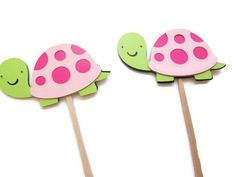Pink Turtle Cupcake Toppers  Under the Sea Sea by MoosesCreations