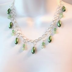 Green Pearl Wire Necklace  Wire Work Clovers  by TheWireRose, $35.00