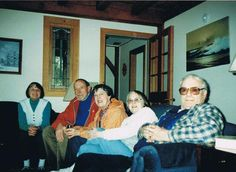 My aunt Madeleine on the left, her husband Richard on the right, my mother next and their cousins Rene and Cecile on a visit from France