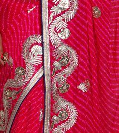 Pink Leheriya Saree with Gota Patti Work - so very Rajasthani!
