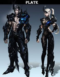 Aion character design | Male and female in black leather outfit with blue magic | gaming