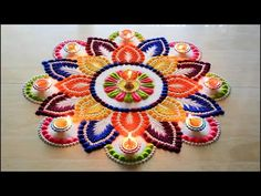 Diwali special rangoli design l Diwali rangoli designs with colours l Ha. Diwali special rangoli design l Diwali rangoli designs with colours l Ha. Easy Rangoli Designs Videos, Rangoli Designs Latest, Simple Rangoli Designs Images, Rangoli Designs Flower, Rangoli Ideas, Colorful Rangoli Designs, Rangoli Designs Diwali, Beautiful Rangoli Designs, Kolam Designs