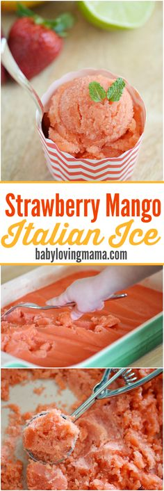 dessert recipes with peanut butter, simple easy dessert recipes, peanut butter dessert recipes - Strawberry Mango Italian Ice: See how easy it is to make refreshing Italian Ice with just a blender! This kid friendly dessert features plenty of fresh fruit. Italian Desserts, Mini Desserts, Frozen Desserts, Frozen Treats, Easy Desserts, Italian Recipes, Dessert Recipes, Italian Ice Cream, Sweets