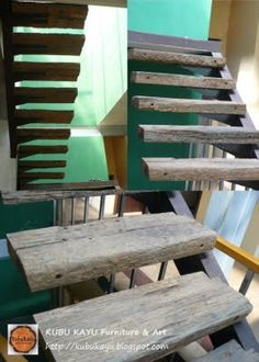 Recycled railway sleepers stairs-would be perfect leading up to a loft like space
