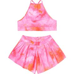 Tie Dye Cami Top And Shorts Set (169020 PYG) ❤ liked on Polyvore featuring pink camisole and pink cami
