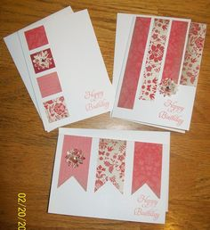 Love these quick and easy card ideas from the Crazy Stamping Lady. :) by Kimara Quick Cards, Cute Cards, Diy Cards Easy, Simple Handmade Cards, Pretty Cards, Handmade Birthday Cards, Greeting Cards Handmade, Birthday Cards To Make, Simple Birthday Cards
