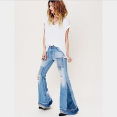 """Free People Festy Flares Super cute bells. Size 28. Higher waisted. Long. Probably around 35"""" inseam. Willing to trade for my likes Free People Jeans Flare & Wide Leg"""