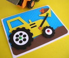 Bulldozer-Einladung für Bau-Thema-Geburtstags-Party