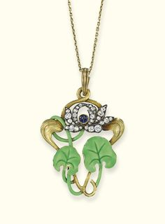 AN ART NOUVEAU DIAMOND AND ENAMEL PENDANT, BY FABERGE - The vivid green enamel lilypad leaves to the old-cut diamond and cabochon sapphire floral surmount and fine-link necklace, circa 1900.